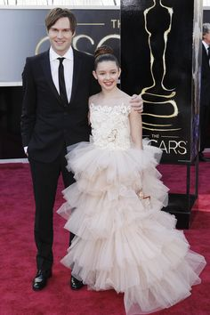 """[*WINNER*] Shawn Christensen and Fatima Ptacek ~ Director/Star and 11 year old star of Live Action Short Nominated Film """"Curfew"""" ~ Oscar Red Carpet 2013"""