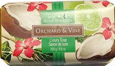 Orchard  Vine Coconut Lime Luxury Soap - 8.8 oz bar  Price : $14.95 http://harmonyhomeshop.hostedbywebstore.com/Orchard-Vine-Coconut-Lime-Luxury/dp/B00OL9MKT0
