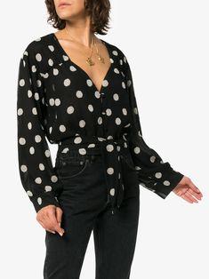 Shop Nanushka Amulet polka dot chiffon blouse from our Blouses collection. Polka Dot Print, Polka Dots, Bell Sleeve Top, V Neck, Brown, Blouse, Long Sleeve, Shopping, Collection