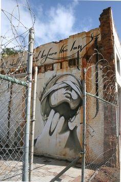 """Lady justice has been raped, truth assassin"" Graffiti Artwork, Street Art Graffiti, Mural Art, Caricatures, L'art Du Portrait, Urbane Kunst, South African Art, Street Art Photography, Amazing Street Art"