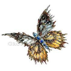 """Les extraordinaires papillons de Wallace Chan. La collection """"Forever Dancing"""", des ailes de papillons enchassées entre nacre et cristal de roche, et montées sur titane, avec des pierres précieuses. Aussi et beau fragile q'un vrai papillon !"""