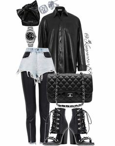 Denim Fashion, Womens Fashion, Baby Bling, Chic Outfits, Model Outfits, Denim Shorts, Footwear, Stylists, Leather Jacket