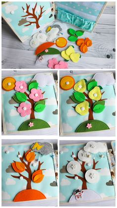 Felt four season toddler quiet toy, developing board for active games, felt board: Autumn - Winter - Spring - Summer Diy Quiet Books, Baby Quiet Book, Felt Books, Happy Home Fairy, Felt Board Stories, Game Happy, Sensory Book, Busy Book, Montessori Toys