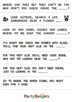 Printable Outdoor Easter Egg Hunt Clues