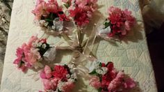 Set of six Bridesmaids' bouquets with silk flowers, burlap, lace and ribbon. By MemoriesShoppe, $75.00