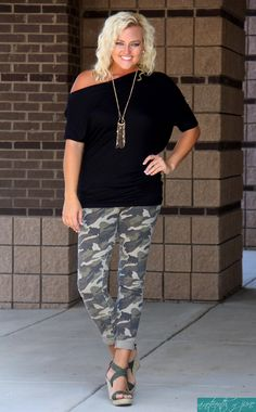 Camo Skinnies / Off Shoulder Top / Olive Wedges / Boutique / Outfit
