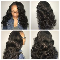 4 bundles side part install using Luxe Lengths loose wave