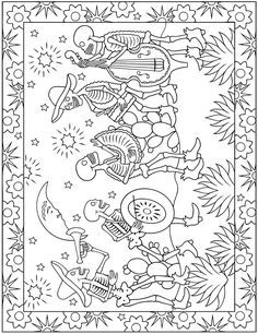 Welcome to Dover Publications day of the dead zentangle Adult Coloring Pages, Printable Coloring Pages, Coloring Sheets, Coloring Books, Day Of The Dead Skull, Art Worksheets, Dover Publications, Doodles Zentangles, Halloween Coloring