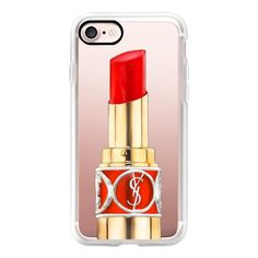 YSL Rouge - iPhone 7 Case, iPhone 7 Plus Case, iPhone 7 Cover, iPhone... ($40) ❤ liked on Polyvore featuring accessories, tech accessories, iphone case, iphone cover case, apple iphone case and iphone cases