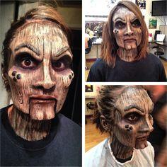 Maquiadora transforma amiga em uma horripilante boneca de madeira