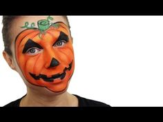 If you're wondering what you can be for Halloween, let your face do all the talking with this fantastic pumpkin face painting tutorial! Halloween Scarecrow, Scary Halloween, Halloween Make Up, Halloween Pumpkins, Facepaint Halloween, Facepaint Ideas, Pumpkin Face Paint, Pumpkin Faces, Face Painting Tutorials