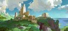 fortress, dan li : f. Landscape Concept, Fantasy Landscape, Landscape Art, Landscape Design, Fantasy City, Fantasy Castle, Fantasy Places, Environment Painting, Environment Concept