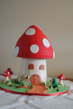 Awesome birthday cake...I think this would be a good choice @Carli Cook since Mama loved mushrooms before little A came :)