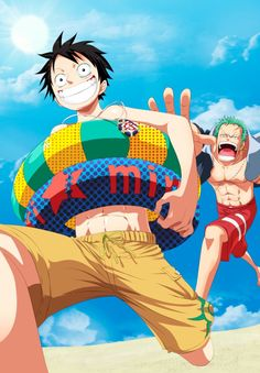 One Piece: Luffy and Zoro en la playa by eikens