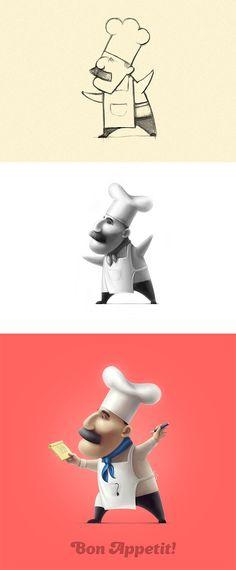 Cute chef illustration...Bon apetit.