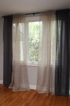 rideaux en lin naturel blanc et gris sol bois                                                                                                                                                                                 Plus