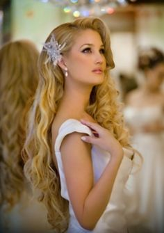 Gorgeous bridal hair for long hair. Make your hair as beautiful as your wholesale diamonds! [ 1diamondsource.com ] #hair #diamond #quality