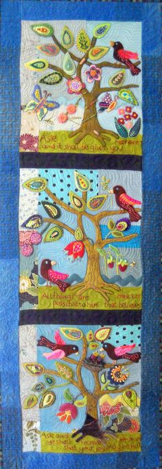 """""""Ask, Believe, Receive"""". Wool Folk Art Quilt Wallhanging. Designed by Kerry Green (Kerry Stitch Designs)."""