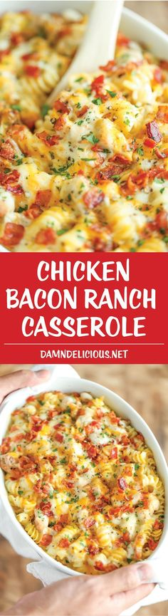 Chicken Bacon Ranch Casserole - Creamy, cheesy and comforting! Loaded with Ranch chicken, homemade alfredo sauce and bacon. Can be made ahead of time! More