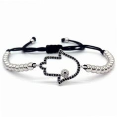 Macrame Bracelet with Hamsa Charm Hand Bracelet, Evil Eye Bracelet, Bracelets For Men, Handmade Bracelets, Hamsa Prayer, Hamsa Hand, Macrame Bracelets, Stone Beads, Types Of Metal