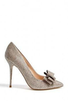 Lucy Choi London | Taupe Rose High Heel Shoe With Large Bow by Lucy Choi London