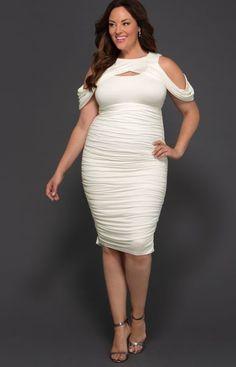 Our plus size Melissa Midi Dress is the perfect elopement dress for plus size br… Plus Size Bridal Dresses, Plus Size Bodycon Dresses, Plus Size Cocktail Dresses, White Cocktail Dress, Bodycon Dress Parties, Peplum Dresses, Party Dresses, Beautiful White Dresses, Nice Dresses