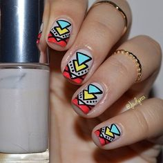 Nude Nails + Colorful Tribal Pattern