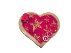 Christmas Heart Brooch Red Jacket Pin Womens by Fabrilushus, £5.50