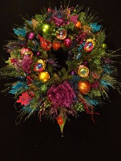 Christmas Wreath in Lime Fuchsia Teal by DesignsbyHEartWorks, $174.99