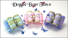 Full Size Embroidered Ribbon Center Band with Swarovski Crystal Sprinkles by Doggie Bow Ties.