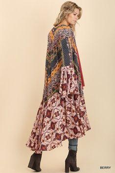 UMGEE bell long sleeve mixed print ruffle kimono duster boho S M L Winter Coats Women, Coats For Women, Long Kimono Cardigan, Kimono Duster, Boho Outfits, Fashion Outfits, Fashion Hacks, Fashion Boots, Fashion Trends