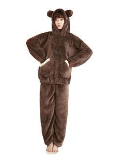 58a99c4d41 Nanxson(TM) Women's Winter Warm Bear Ear Flannel Pajamas Set with