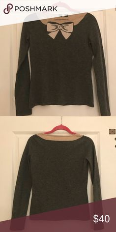 Saks Fifth Avenue bow sweater! Very soft, cute sweater. About size small. Missing care tag. Saks Fifth Avenue Sweaters Crew & Scoop Necks