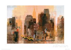 New Yorker & Cabs Giclee Print