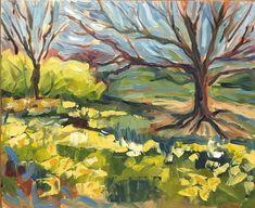 Daffodils Landscape Plein Air 10 x 8 original oil by RubinettiArt