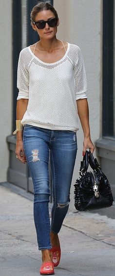 Olivia Palermo in our AG Jeans The Ankle Legging Jean in 18 Years Destroyed