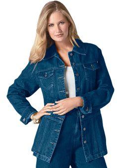 9463d1426be Plus Size Long Jean Jacket image Long Denim Jacket