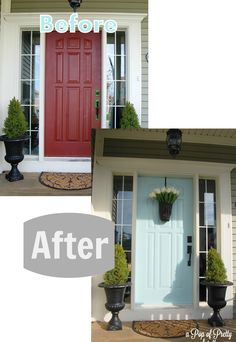 Before & After - front door from red to turquoise...with green ('Cypress') siding.  A Pop of Pretty, apopofpretty.com