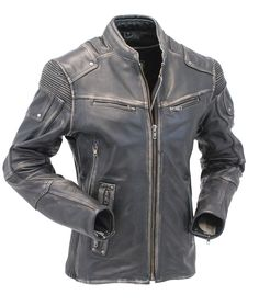 Ultimate racer motorcycle jacket for women in a vintage gray distressed color with zippered vents, stretch panels, dual gun pockets, full sleeve zip out lining and so much more for those of you that want the best.
