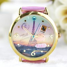 Retro Eiffel Tower Polymer Clay Watch-pink
