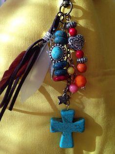 Southwest beaded keychain / purse fob  charms by JansBeadCreations