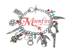 This bracelet is a tribute to the Supernatural fandom! Great for any Supernatural fan! The silver-plated bracelet measures 7 inches. It comes with a toggle and clasp.