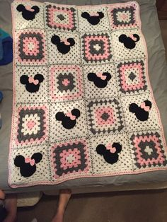 Minnie Mouse blanket by AkersCrochetHats on Etsy