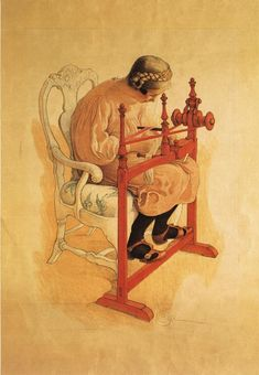 Carl Larsson. Girl weaving a red ribbon
