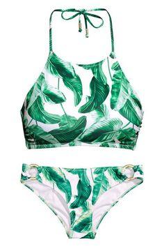 Cheap and fashionable bikinis and swimwear...palm tree print high neck two piece