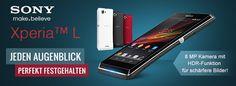 Sonys XPERIA L mit bärenstarken Akku und einzigartigen Multimedia-Eigenschaften gibt es in unserem Shop auf getgoods.de Sony Xperia, Shops, Multimedia, Smartphone, Electronics, Inspiration, Mobiles, Camera