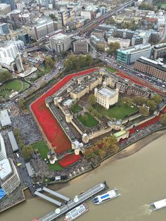 An Incredible Bird's Eye View Of The Ceramic Poppies Outside The Tower Of London - Found via Buzzfeed - Photo by the Met Police Air Support Unit