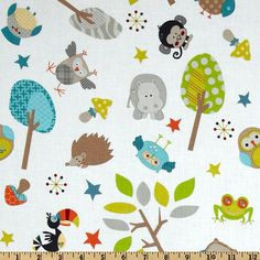 Jungle Life on White From Riley Blake 1 Yard by StitchStashDiva, $8.95
