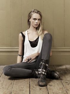 SAINT ALLISON saved this image titled 'Dominic Jones' to their StyleSaint profile. More than 41 StyleSaints retore this photo. Model cara delevingne, dominic jones jewelry ad campaign spring summer 2012, biker boots, skinny jeans, white tank.