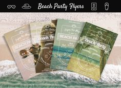 4 Beach Party Flyers in one. The perfect invitations for your summer parties!